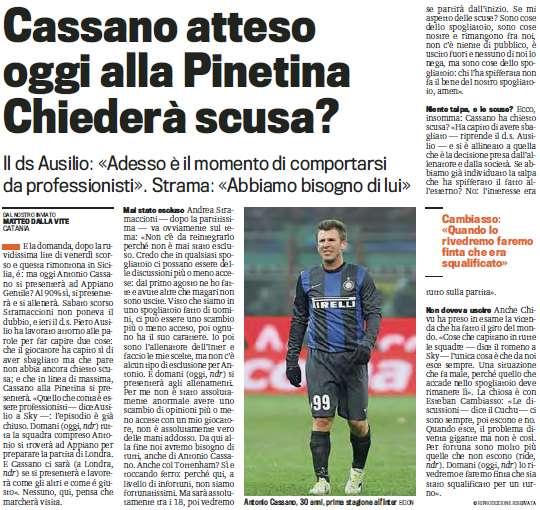 《米兰体育报》:卡萨诺将重回训练场他会道歉么?